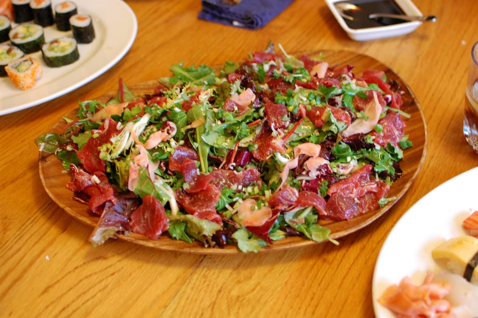 Sashimi tuna salad with daruma wasabi ginger dressing we for Sashimi dressing