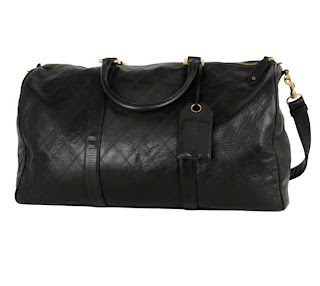 Vintage 1990's Chanel black quilted leather duffle bag