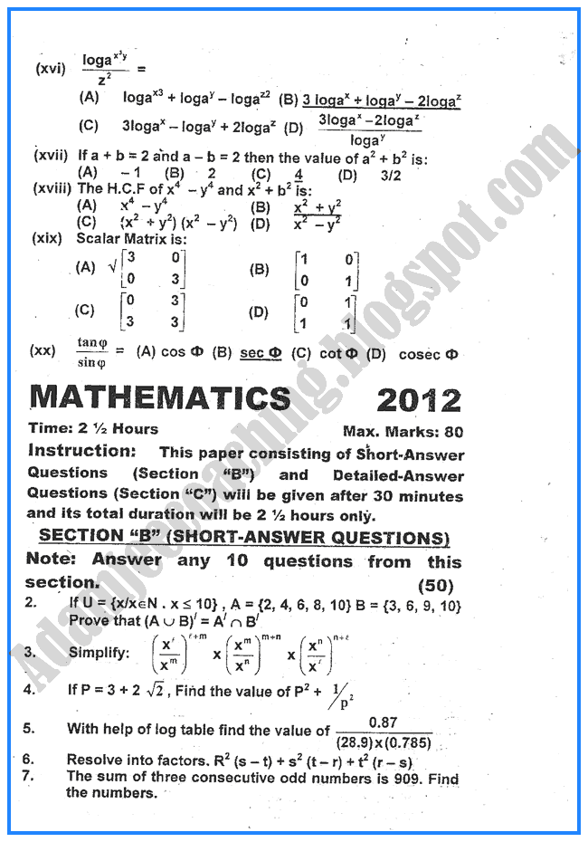 mathematics-2012-past-year-paper-class-x