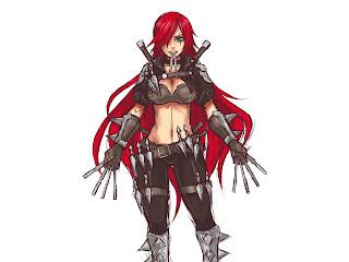 League of Legends Katarina Dagger Blade Armor Red Hair Girl Scar HD Wallpaper Desktop Background