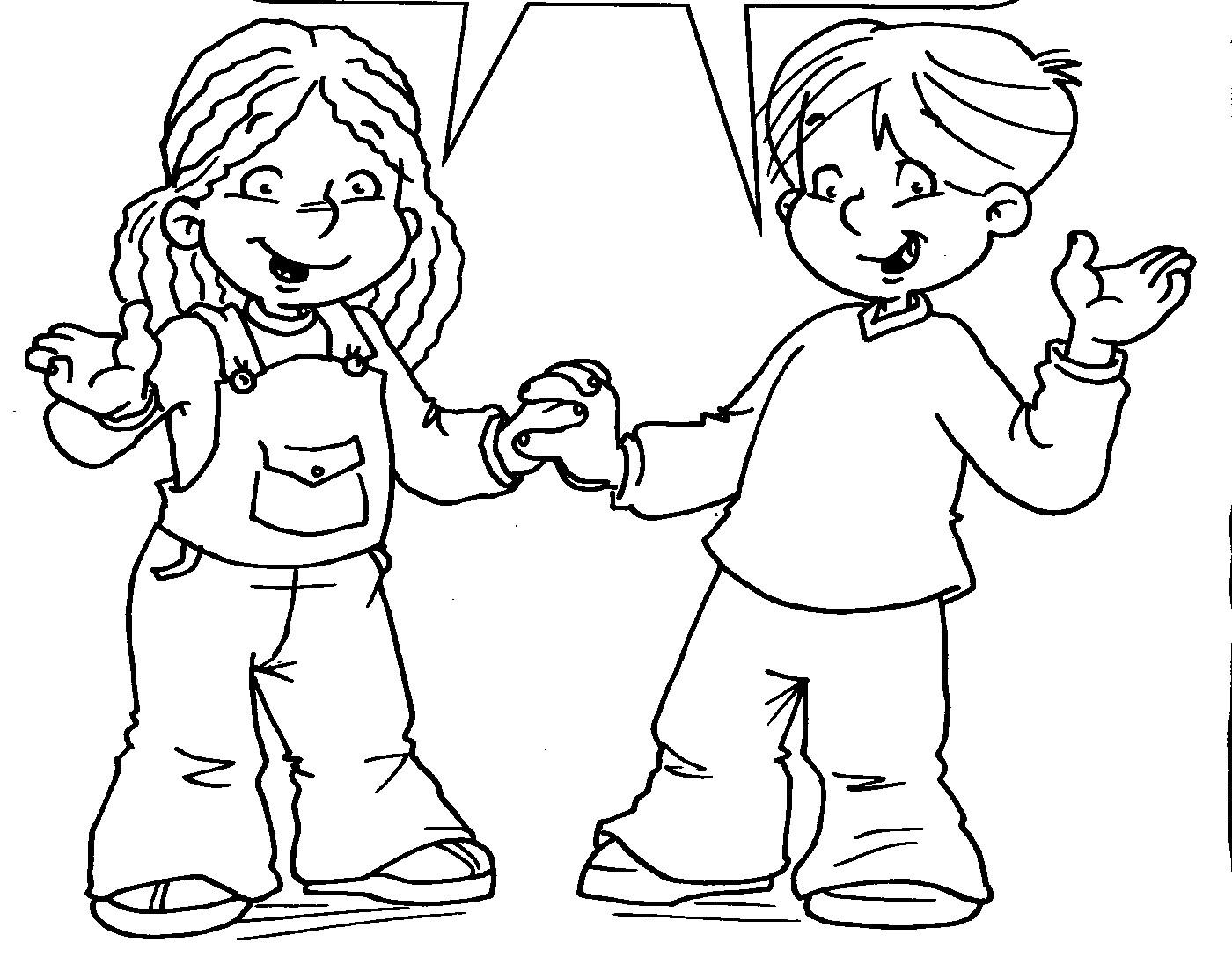 Dibujo Para Colorear De Convivencia Escolar