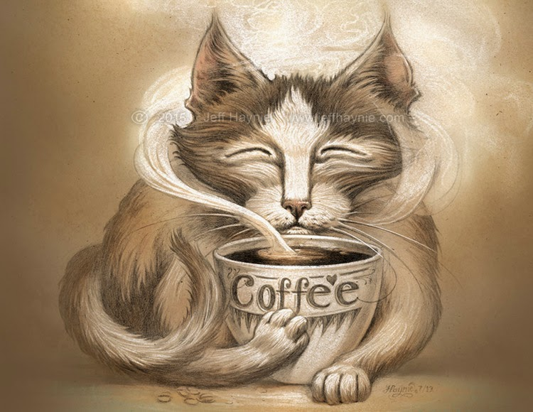 04-Coffee-Cat-Jeff-Haynie-Cats in Drawings-Paintings-and-Jewelry-www-designstack-co