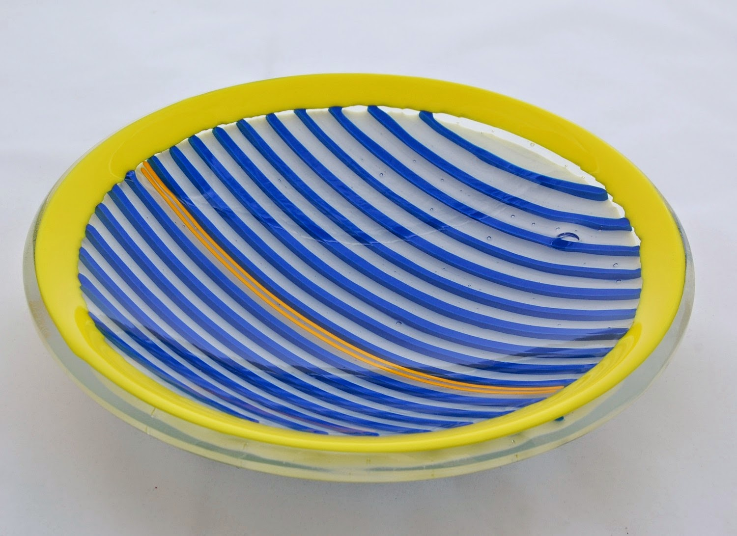 Blue, white, and yellow strip construction bowl