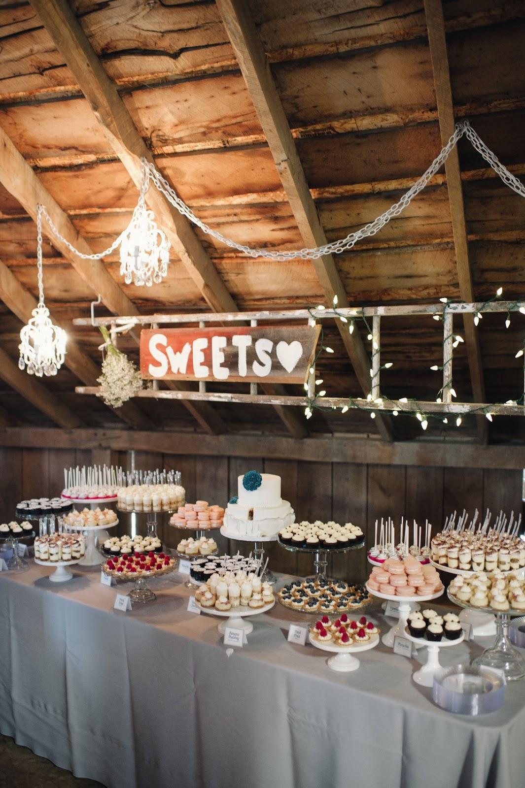 Barn Wedding Mini Dessert Table and 2 Tier Cake for Allison and Ryan