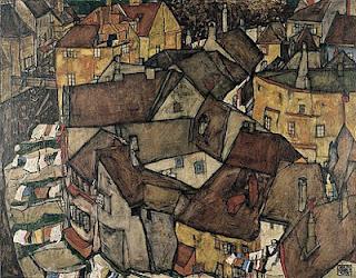 Maisons en arc à Krumau, Egon Schiele