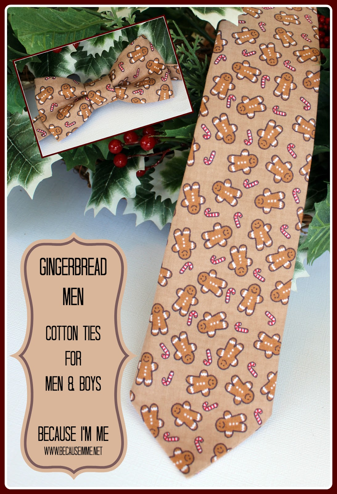 Gingerbread Men cotton Christmas bow and neck ties for men and boys
