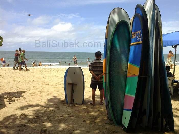Surfboards on display along the coast in Kuta Beach