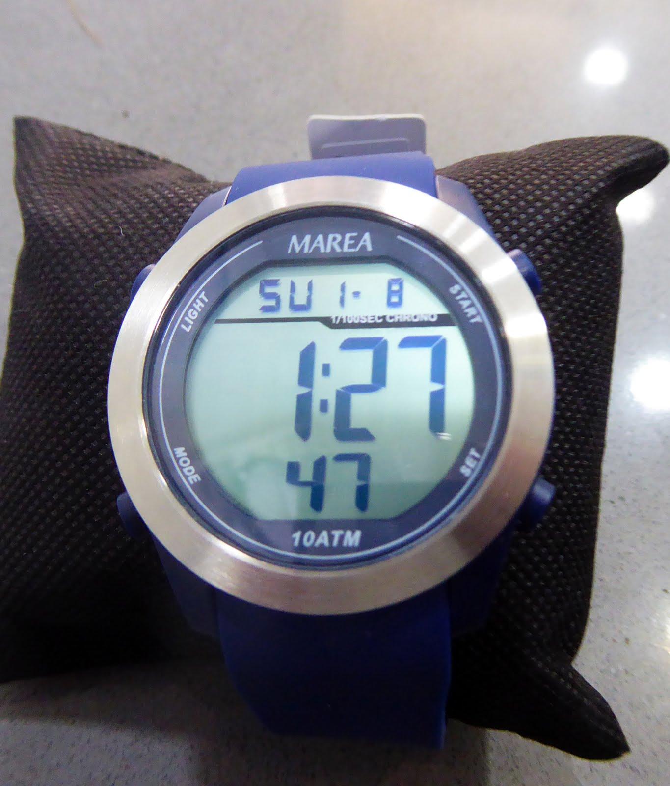 Reloj Marea digital, tamaño grande caja acero y correa de silicona azul