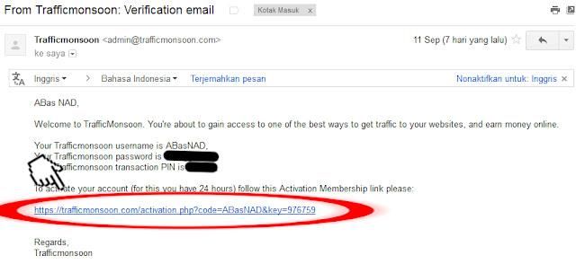 cara Verifikasi Emain Membuat Akun Trafficmonsoon, mendaftar trafficmonsoon