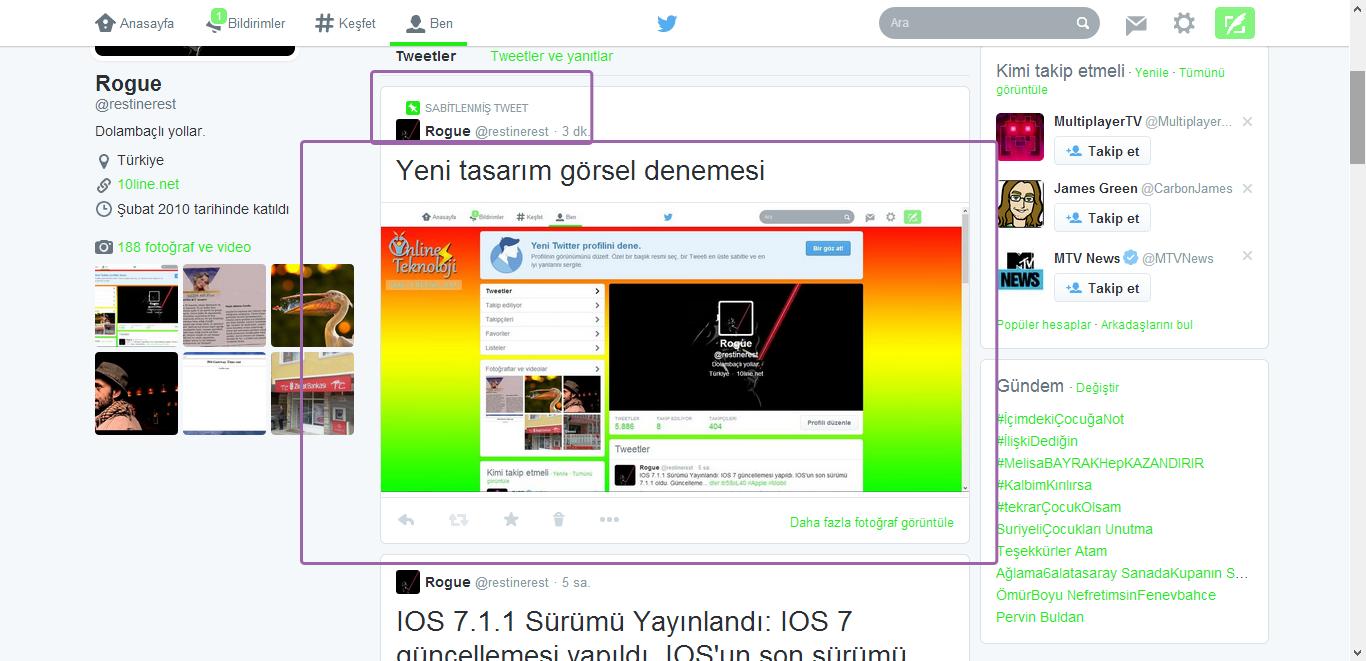twitter yeni tasarım, sabitlenmiş tweet ve görsel görünümü