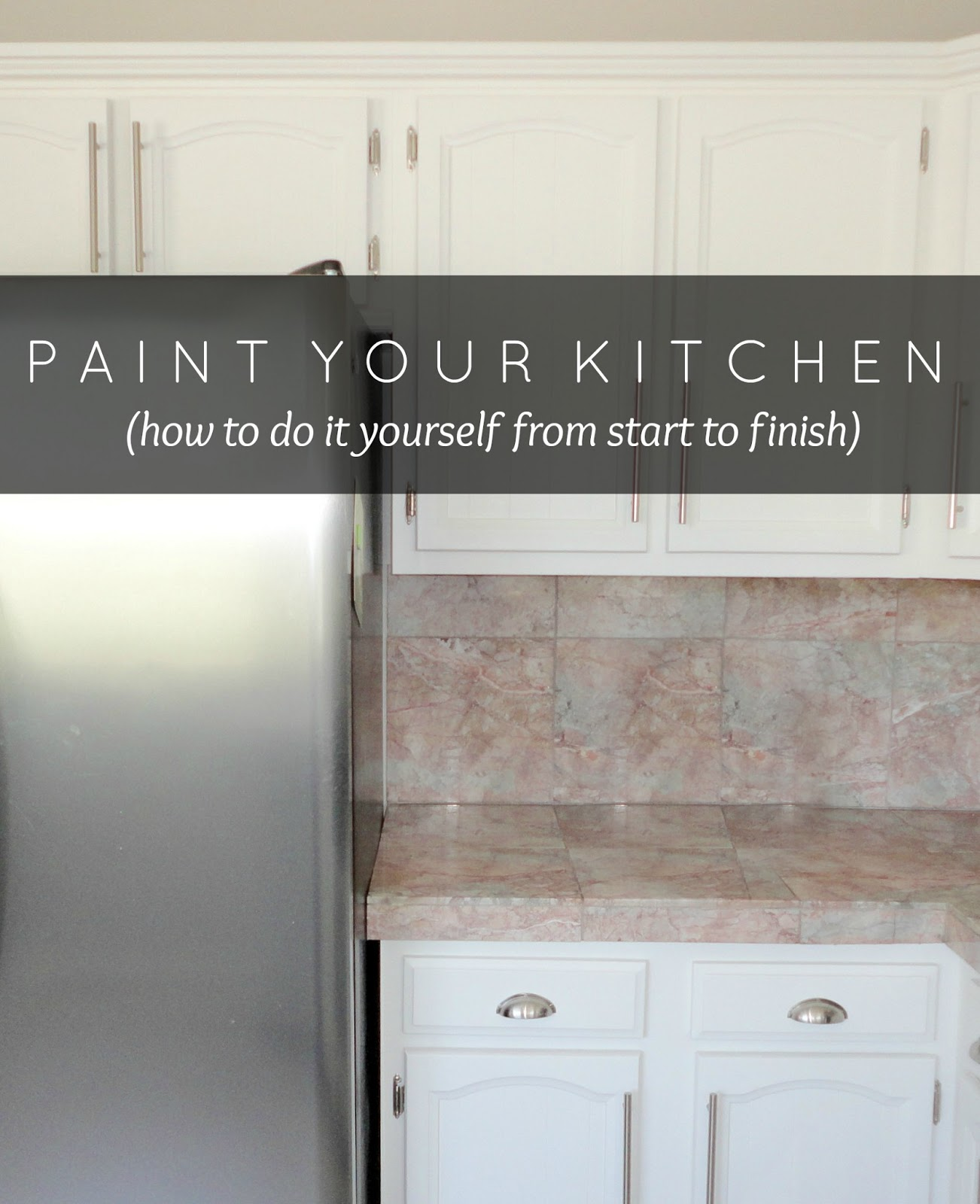 LiveLoveDIY How To Paint Kitchen Cabinets In Easy Steps - Grey and white painted kitchen cabinets