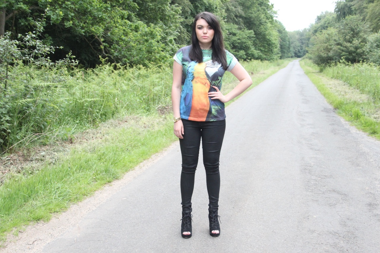 Parrot Tee and Leather Jeans