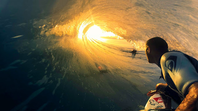 Surfing Big Wave Sunset HD Wallpaper