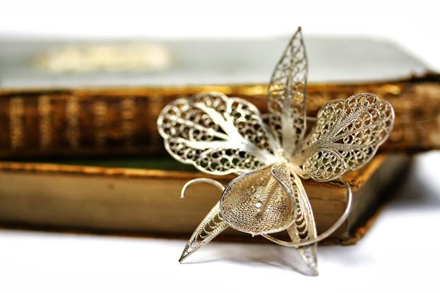 Sterling silver Edwardian orchid brooch