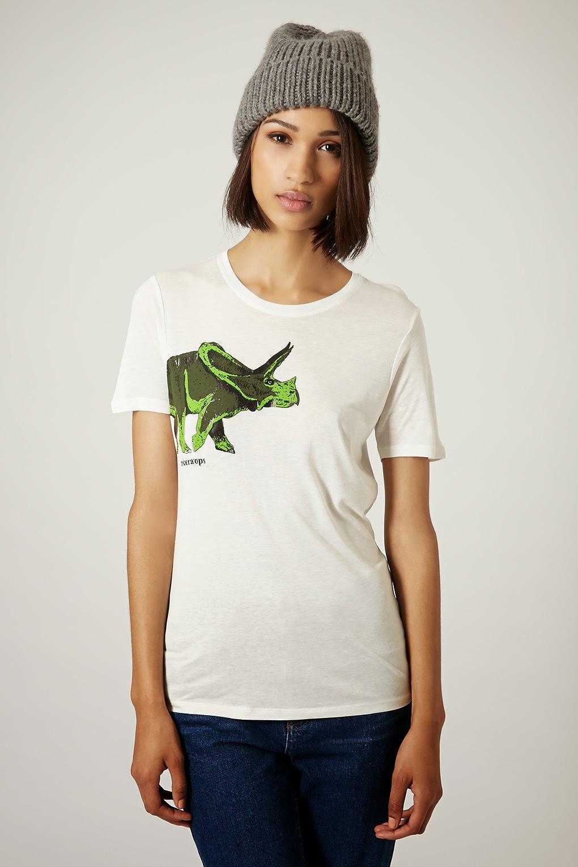 triceratops t-shirt, dinosaur top topshop,