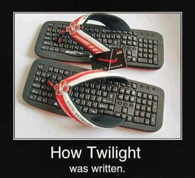How Twilight was written. Keyboard sandals.