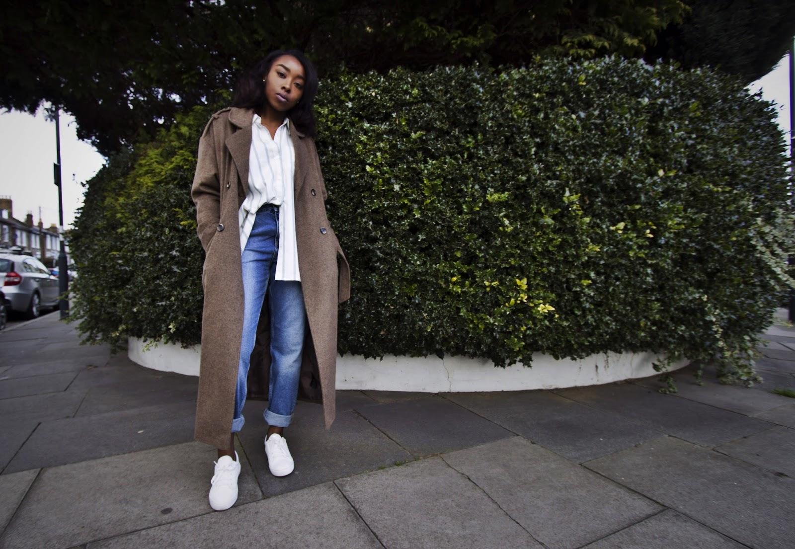UK Fashion Blogger wearing Long Belted Over Sized Wool Coat