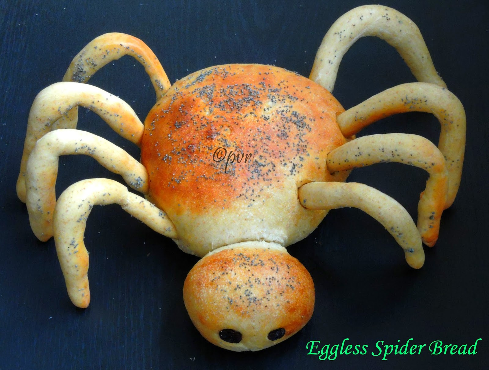 Priya's Versatile Recipes: Eggless Spider Bread ~Halloween Special ...