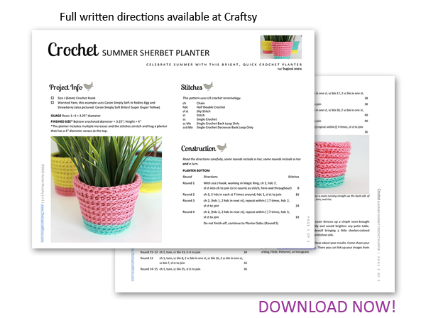 Pattern: Summer Sherbet Crochet Planter | The Inspired Wren