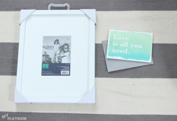 All the tools you need- a simple frame and the perfect card