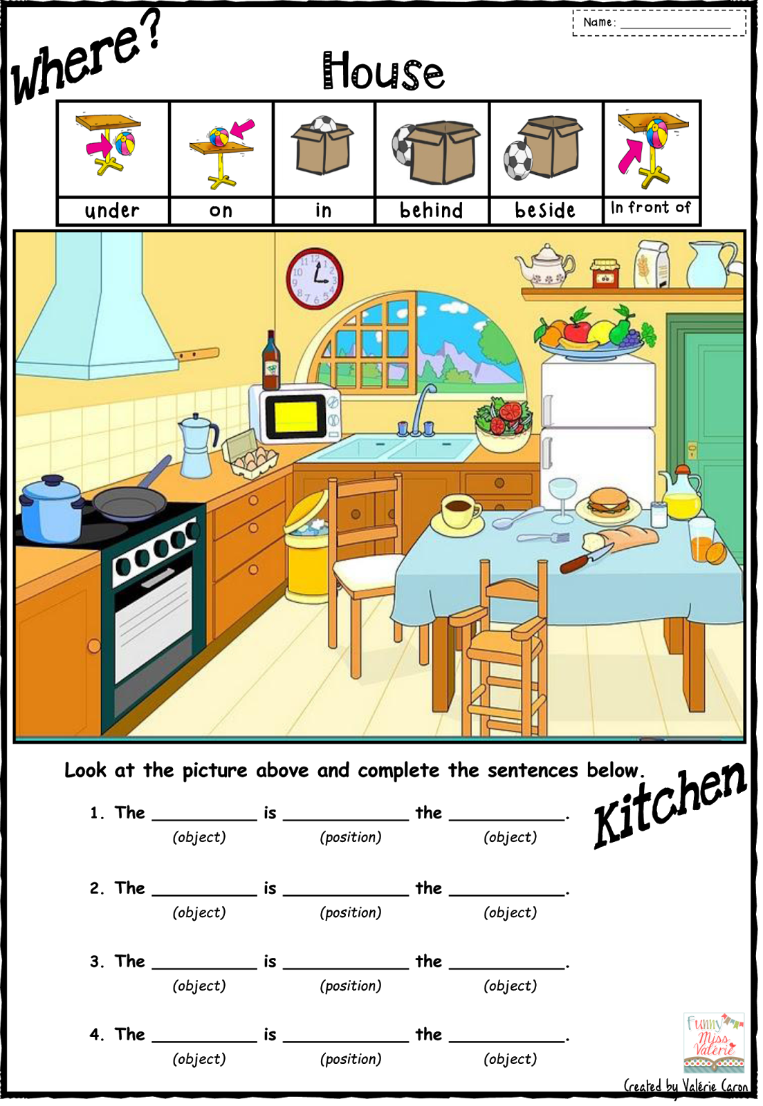 Preposition Worksheets House Pictures