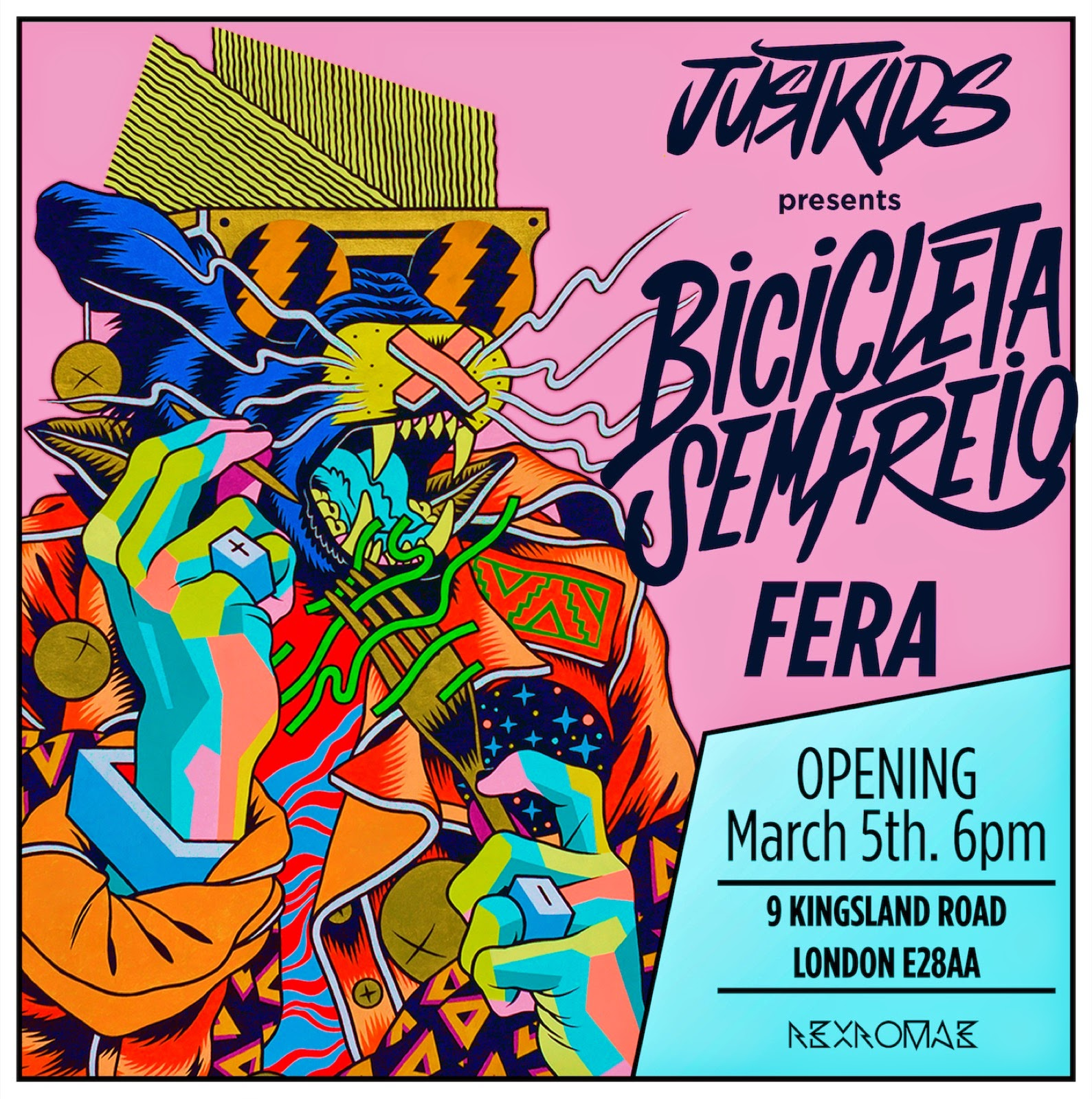"Next week in Shoreditch, London, JustKids will hold a pop-up exhibition in London showcasing the artworks of internationally famed Brazilian duo of illustrators Bicicleta Sem Freio (""Bicycle Without Brake"")."
