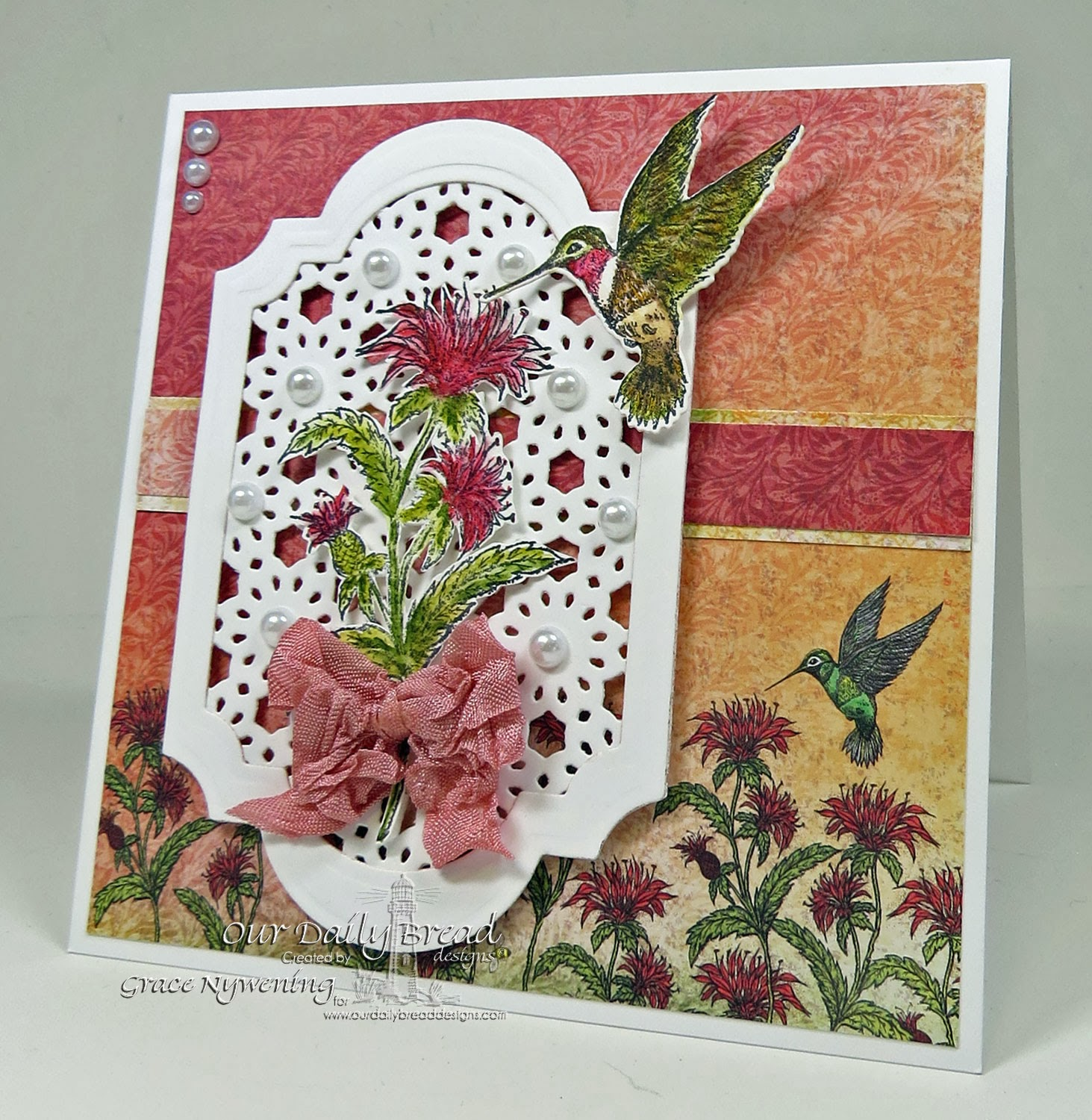 ODBD Stamps: Hummingbird, BeeBalm, designed by Grace Nywening