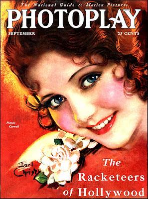 chica vintage en portada de revista antigua