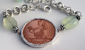 Copper Irish Penny Bracelet with hen & chicks