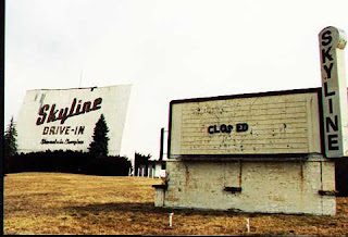 Screen and marquee of the Skyline Drive-In in Waynesboro, VA - Photo by Tony at http://www.driveins.org/index.html