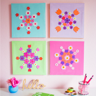 This colorful wall art was made with stickers!