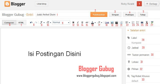 fungsi tombol pada posting