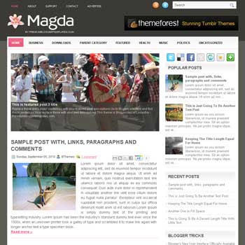 Magda blogger template. free blogspot template magazine style