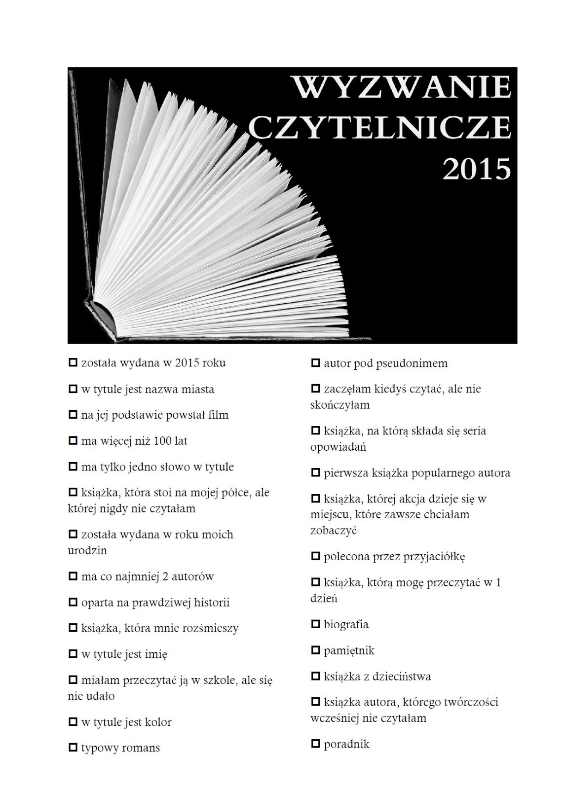 wyzwanie czytelnicze 2015- lista książek