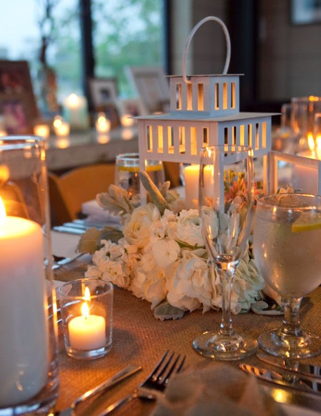 white lantern wedding centerpiece