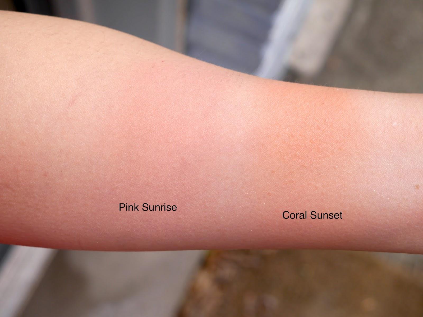 dior coral sunset pink sunrise blush swatch