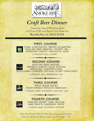 Craft Beer Dinner at The Smoke Rise Inn this Thursday May16, 2013, at 6:30 PM