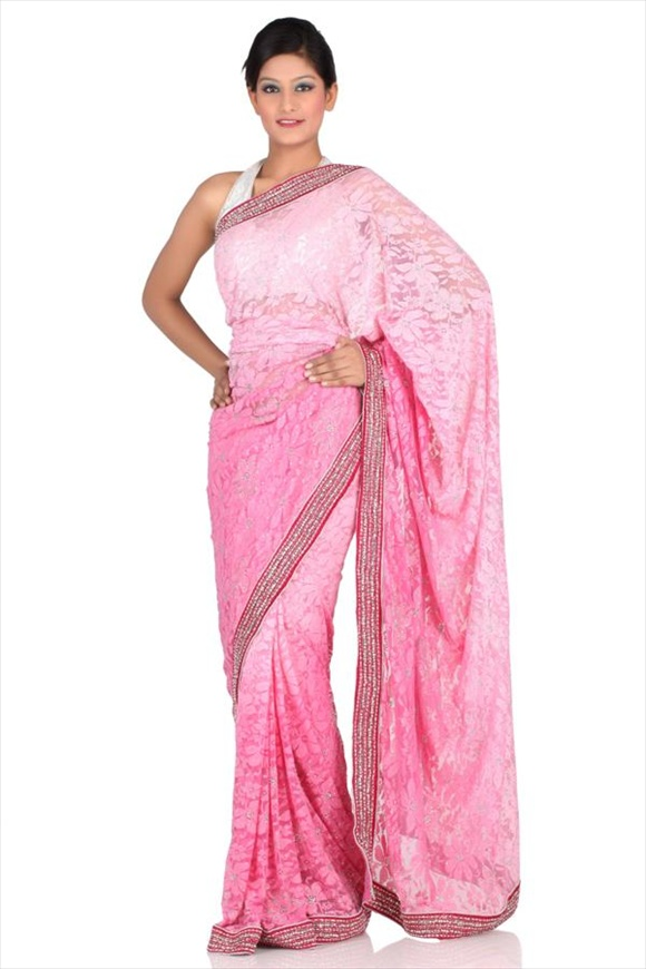 Carnation Net Saree
