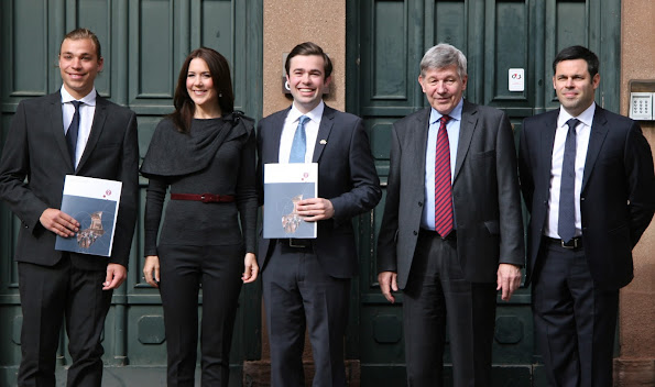Crown Princess Mary of Denmark attended the award ceremony of the scholarships to the two Australian exchange students, Morgan Leon Foulsham of the Macquarie University and Cameron Hunter of the University of Sydney at the University of Copenhagen