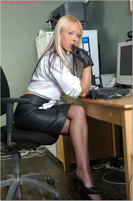 Leather skirt, gloves and stockings