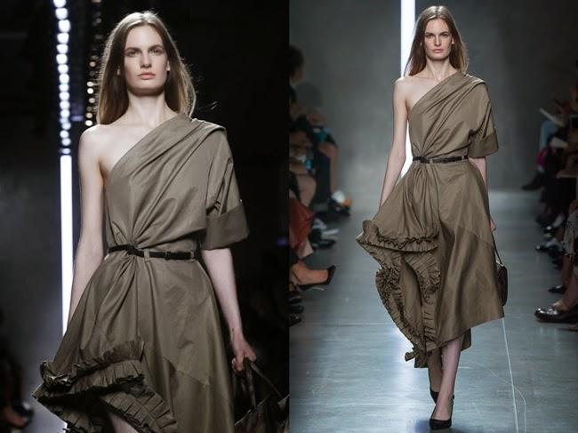 Bottega Veneta 2014 SS Khaki One-Shoulder Pleated Dress