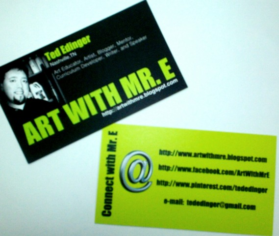 Art with mr e business cards speaking at naea fort worthi decided it might be a good thing to have business cards i had some made a few years ago when i had the art show for my colourmoves