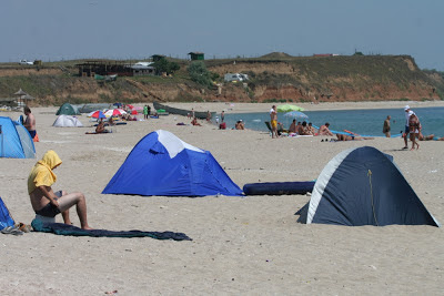Camping on the beach in Vama Veche, Romania
