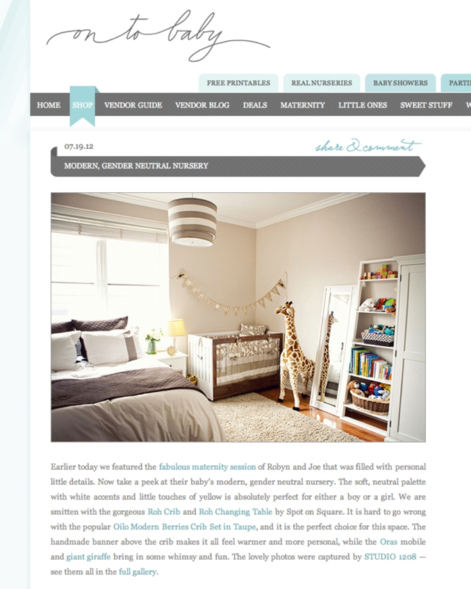 STUDIO 1208 feature on OnTo Baby for chic gender neutral nursery shoot