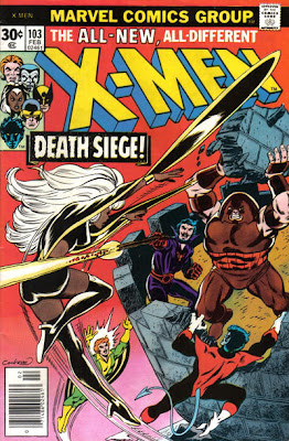 X-Men #103, a flying Storm dodges a shot fired from an Irish battlement as the Juggernaut returns