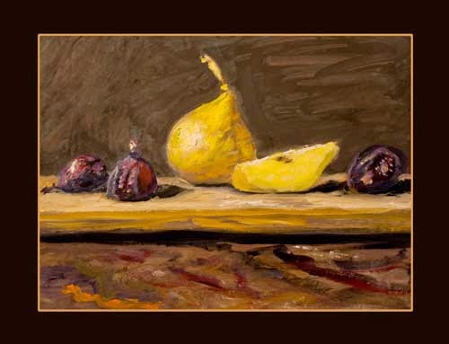 oil on paper pears and figs asheville