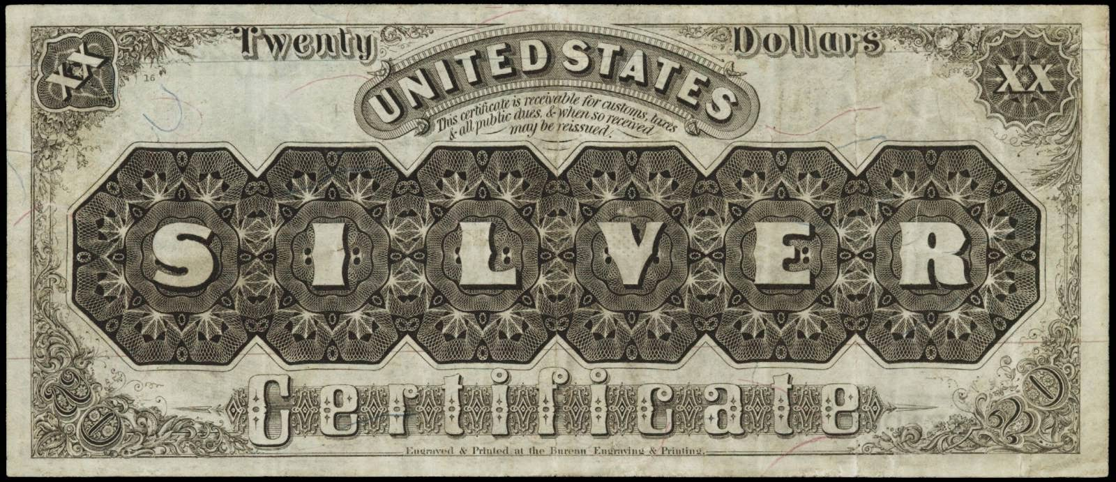 United States paper money 20 dollar silver certificate 1880