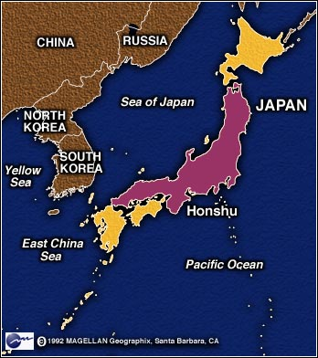 Map image of Japan/East Asia Highlighting Honshu