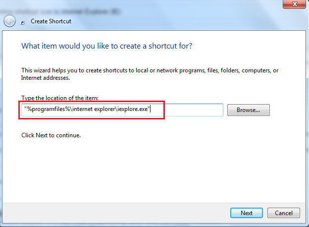 Create or add a shortcut to Internet Explorer-(ie) on your desktop