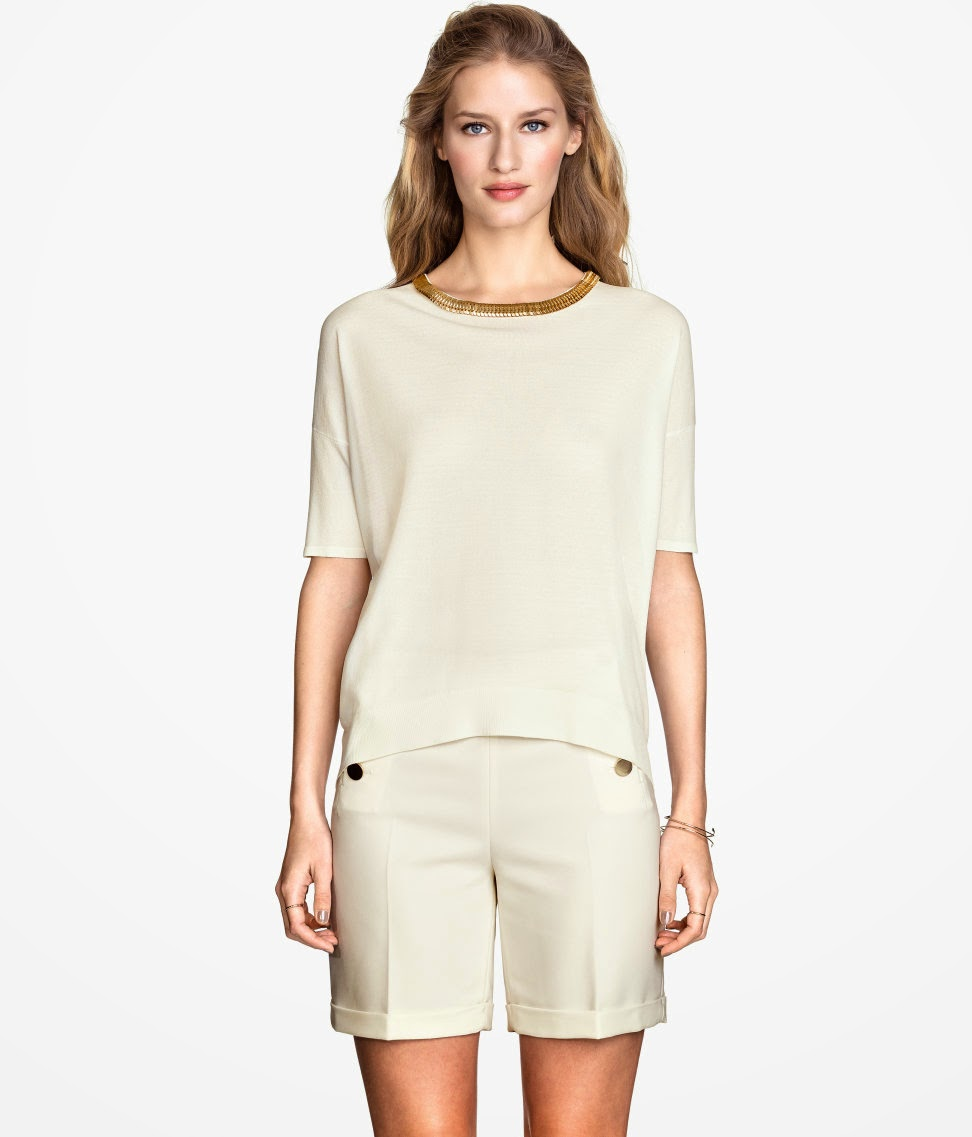 cream gold neck top